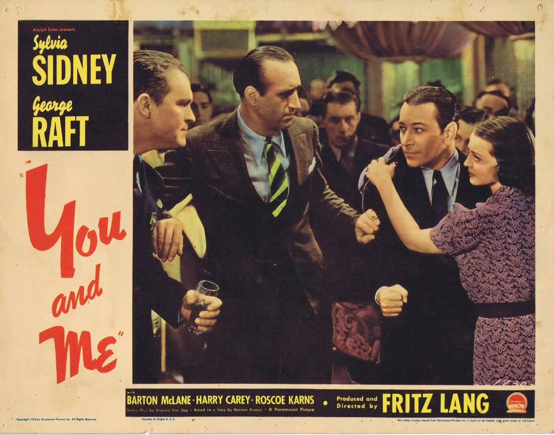 YOU AND ME Lobby card 8 George Raft Fritz Lang Sylvia Sidney