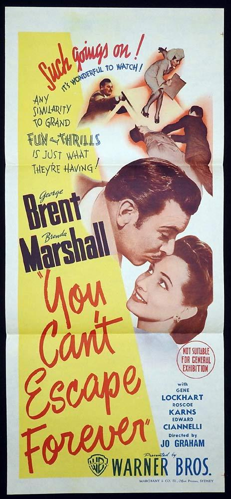 YOU CAN'T ESCAPE FOREVER Original Daybill Movie Poster George Brent Marchant art