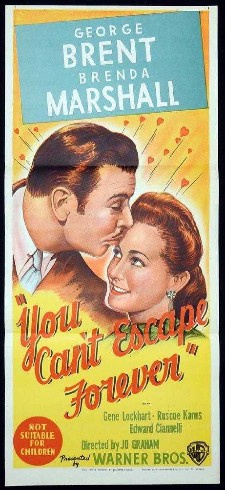 YOU CAN'T ESCAPE FOREVER Daybill Movie Poster Brenda Marshall George Brent 40sr