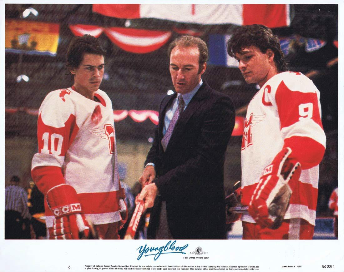 YOUNGBLOOD Original Lobby Card 6 ROB LOWE Patrick Swayze Ice Hockey