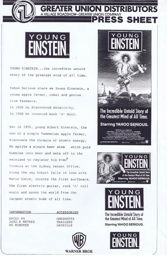 YOUNG EINSTEIN Rare AUSTRALIAN Movie Press Sheet Yahoo Serious