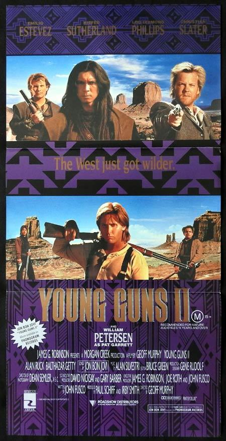 YOUNG GUNS II Original daybill Movie Poster Kiefer Sutherland Emilio Estevez