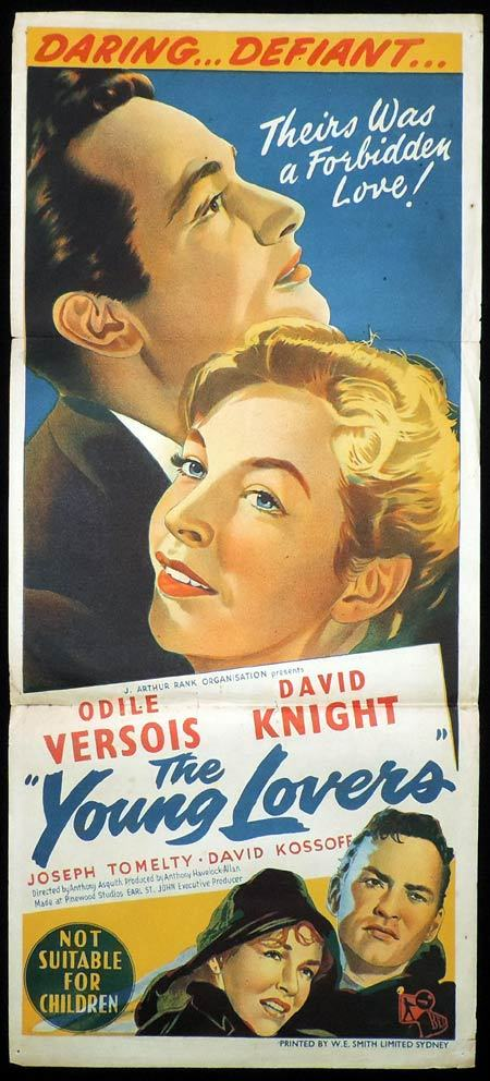YOUNG LOVERS aka WHITE FIRE Daybill Movie Poster Odile Versois David Knight