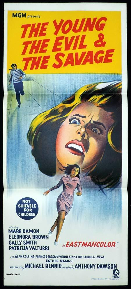 THE YOUNG THE EVIL AND THE SAVAGE Original Daybill Movie poster Italian giallo