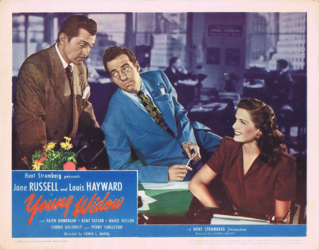 YOUNG WIDOW Lobby Card Jane Russell Louis Hayward