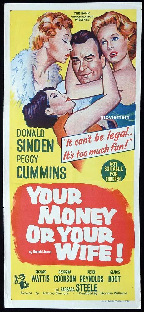 YOUR MONEY OR YOUR WIFE Original Daybill Movie poster Donald Sinden Peggy Cummins