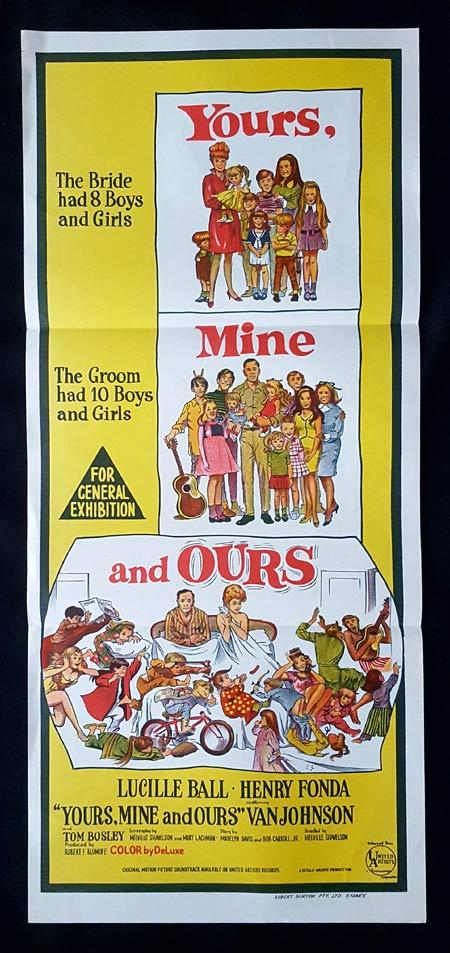 YOURS MINE AND OURS Original daybill Movie Poster Lucille Ball Henry Fonda Van Johnson