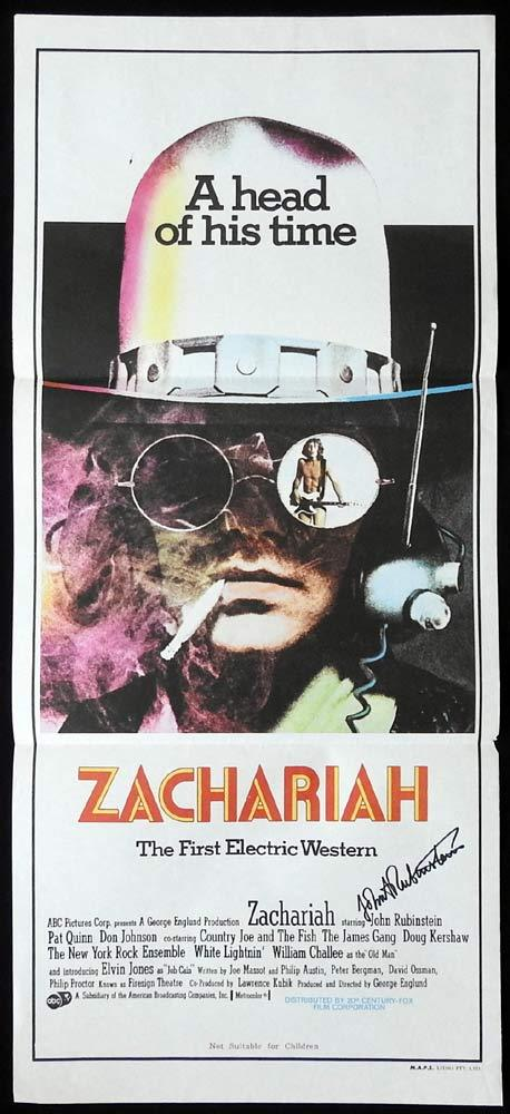 ZACHARIAH Original Daybill Movie poster AUTOGRAPHED by JOHN RUBENSTEIN