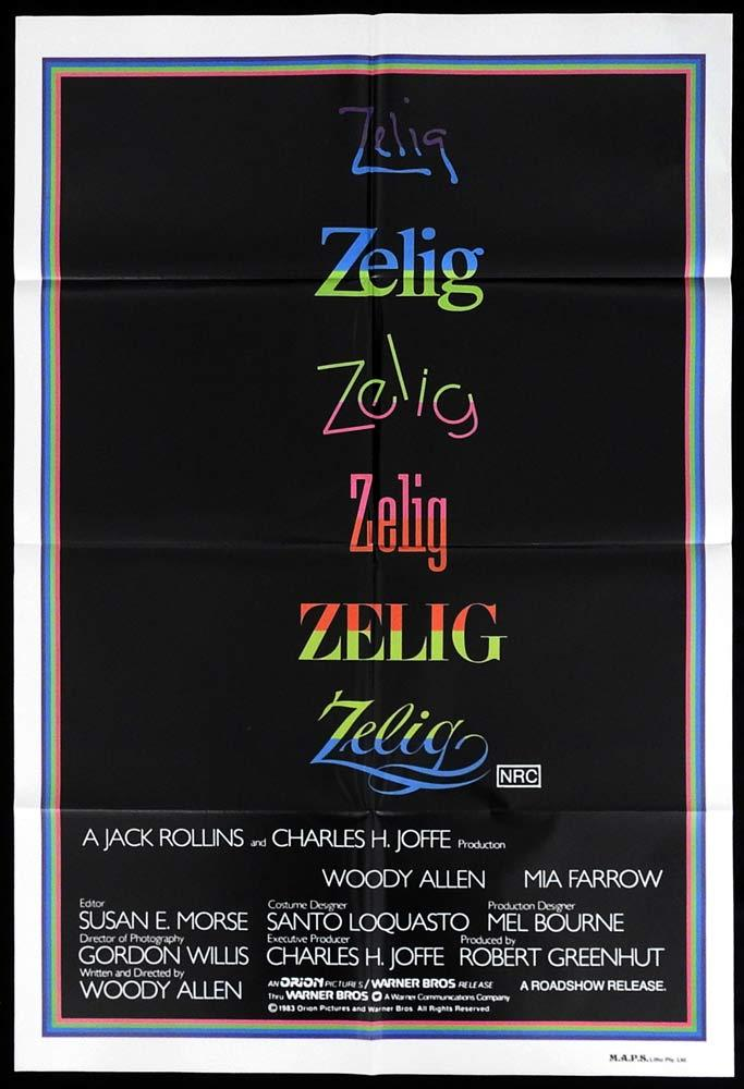 ZELIG Woody Allen Mia Farrow ORIGINAL One sheet Movie poster