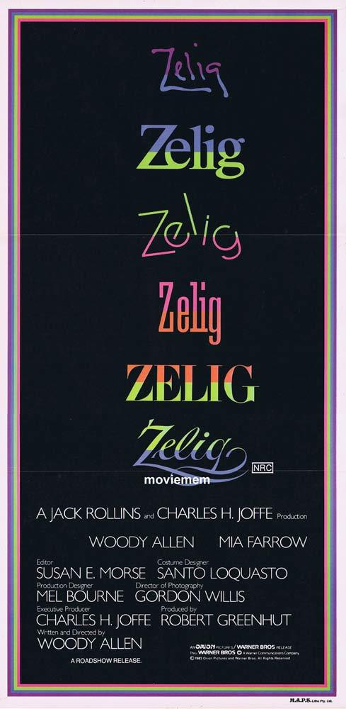 ZELIG Woody Allen Mia Farrow ORIGINAL daybill Movie poster