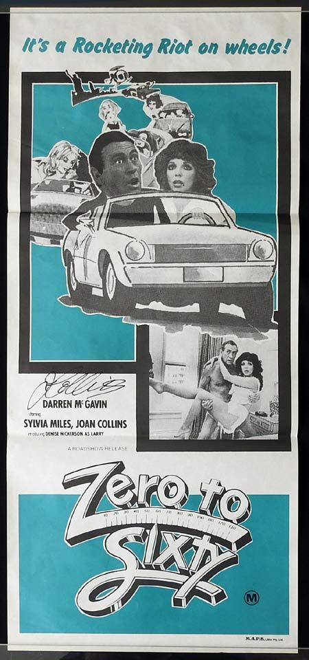 ZERO TO SIXTY Original Daybill Movie poster JOAN COLLINS Autographed