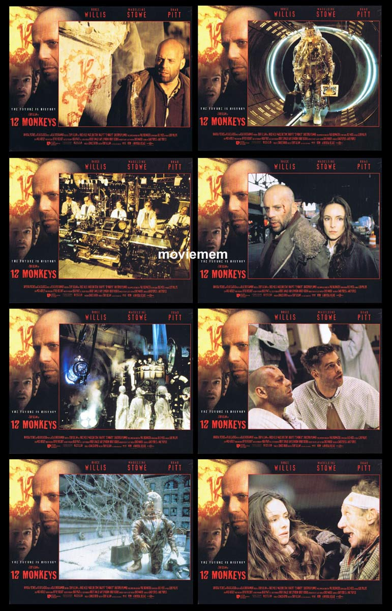 12 MONKEYS Original Lobby Card Set Bruce Willis Brad Pitt Madeleine Stowe