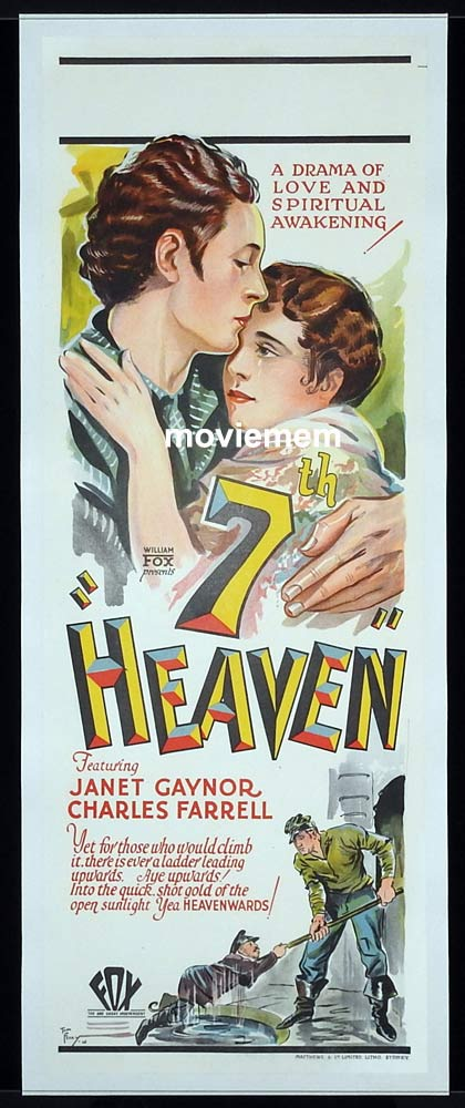 7TH HEAVEN Long Daybill Movie poster Janet Gaynor Charles Farrell 1927 Oscar Winner