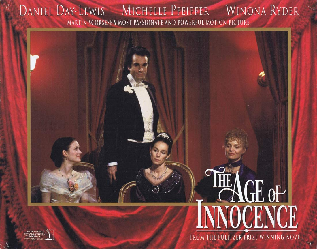 THE AGE OF INNOCENCE Original Lobby Card 2 Daniel Day-Lewis Michelle Pfeiffer