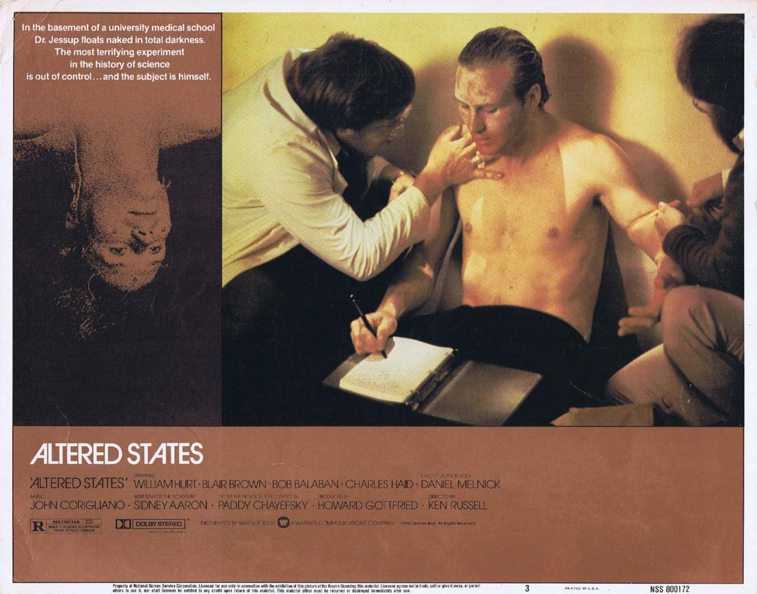 ALTERED STATES Original Lobby Card 3 William Hurt Ken Russell Blair Brown