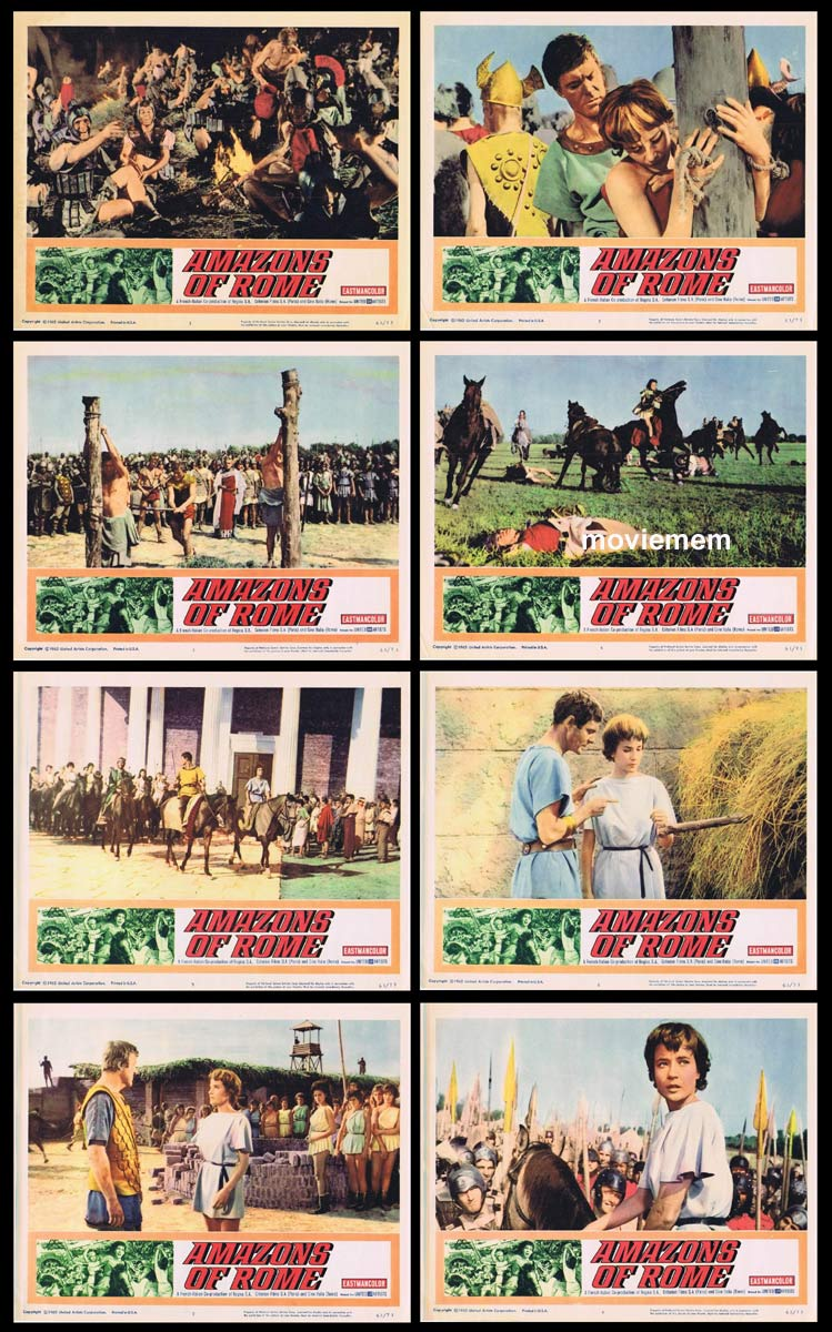 AMAZONS OF ROME Original Lobby Card set Louis Jourdan Sylvia Syms