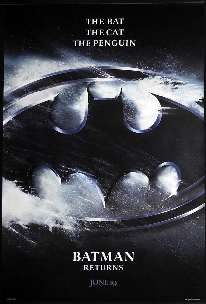 BATMAN RETURNS Original US Advance One sheet Movie poster Michael Keaton Danny DeVito