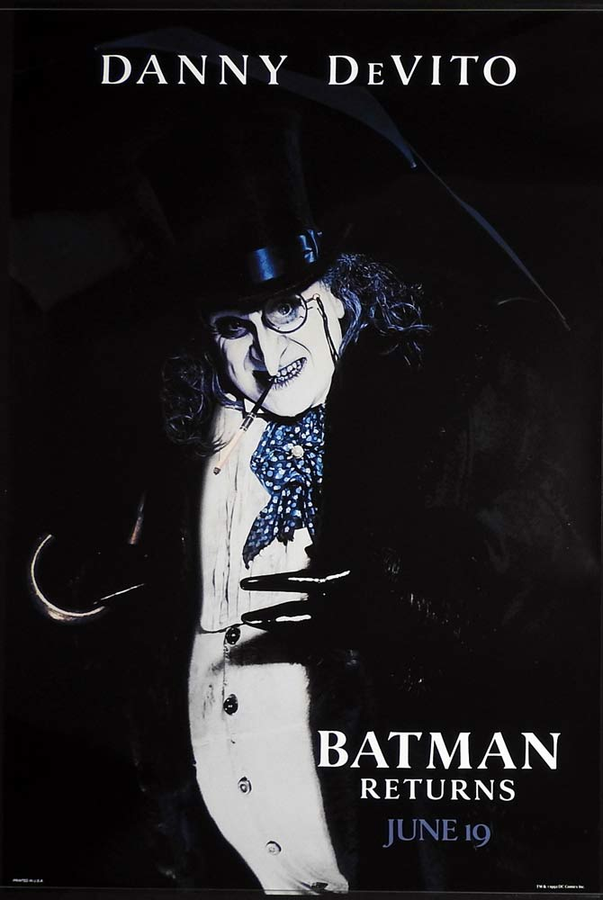 BATMAN RETURNS Original US Advance One sheet Movie poster Danny DeVito
