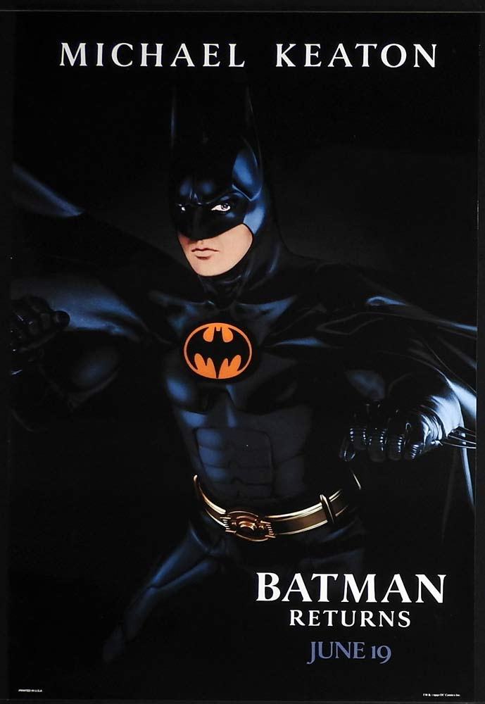 BATMAN RETURNS Original US Advance One sheet Movie poster Michael Keaton
