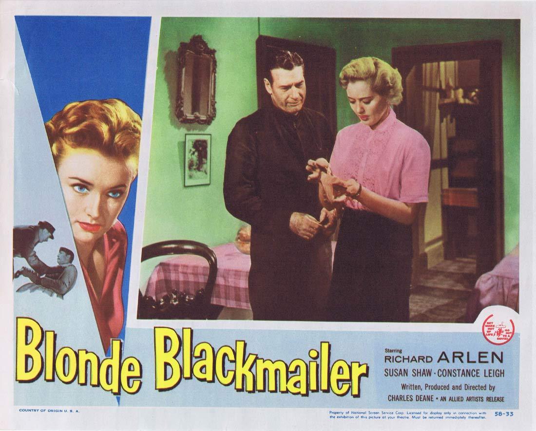 BLONDE BLACKMAILER Original Lobby Card 3 Richard Arlen Film Noir Susan Shaw