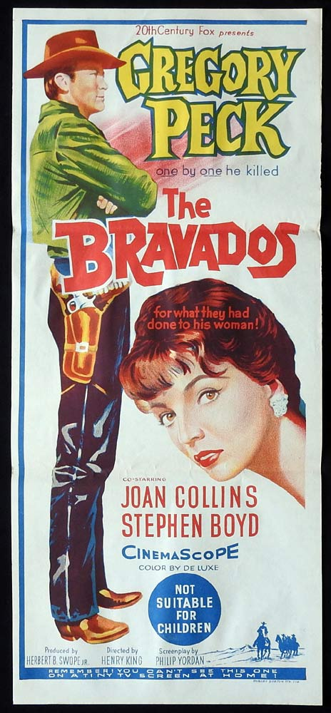 THE BRAVADOS Original Daybill Movie Poster Gregory Peck Joan Collins