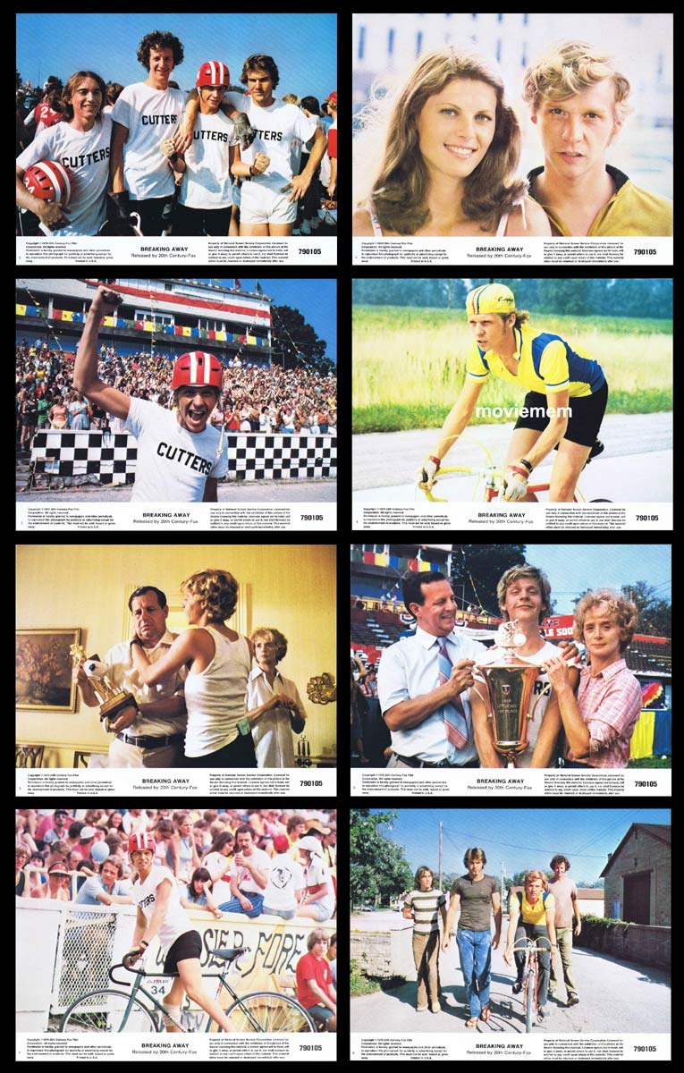 BREAKING AWAY Original 8 x 10 Lobby Card set Dennis Christopher Dennis Quaid Cycling