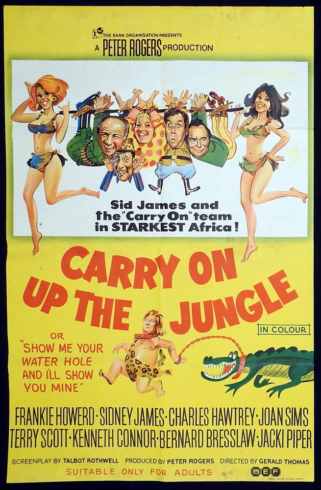 CARRY ON UP THE JUNGLE Original One sheet Movie Poster Sidney James Kenneth Williams