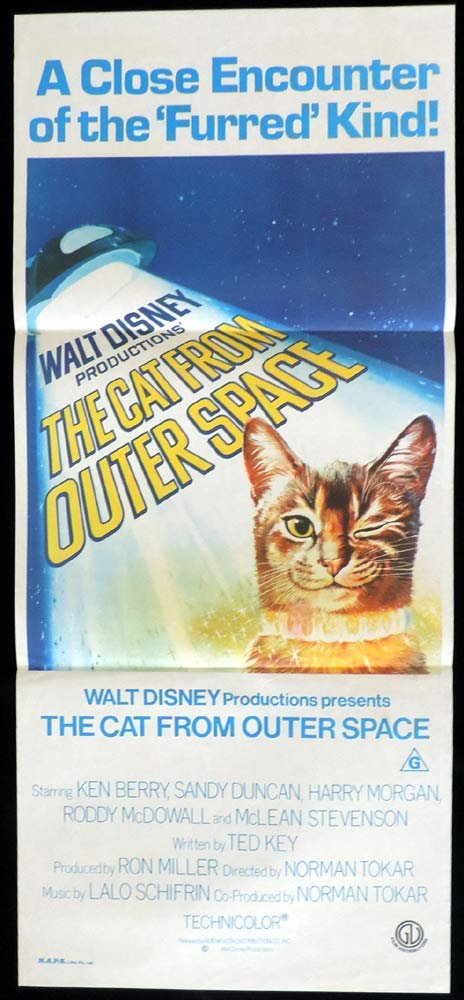 THE CAT FROM OUTER SPACE Original Daybill Movie Poster Ken Berry Sandy Duncan