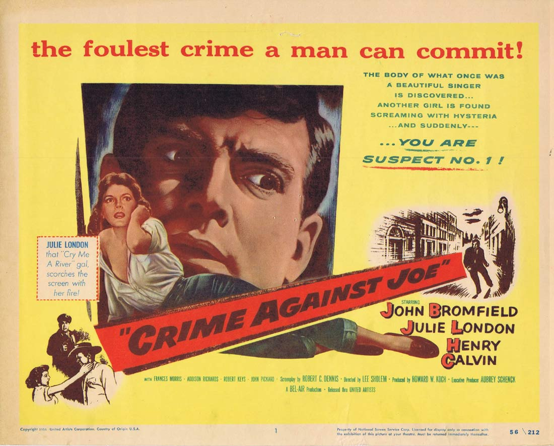 CRIME AGAINST JOE Original Title Lobby Card John Bromfield Julie London