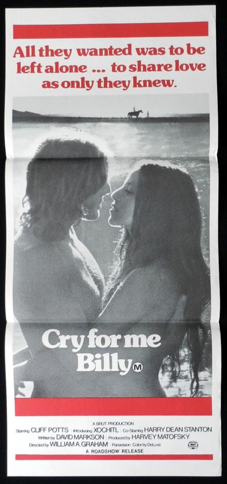 CRY FOR ME BILLY Daybill Movie poster Cliff Potts Maria Potts Harry Dean Stanton