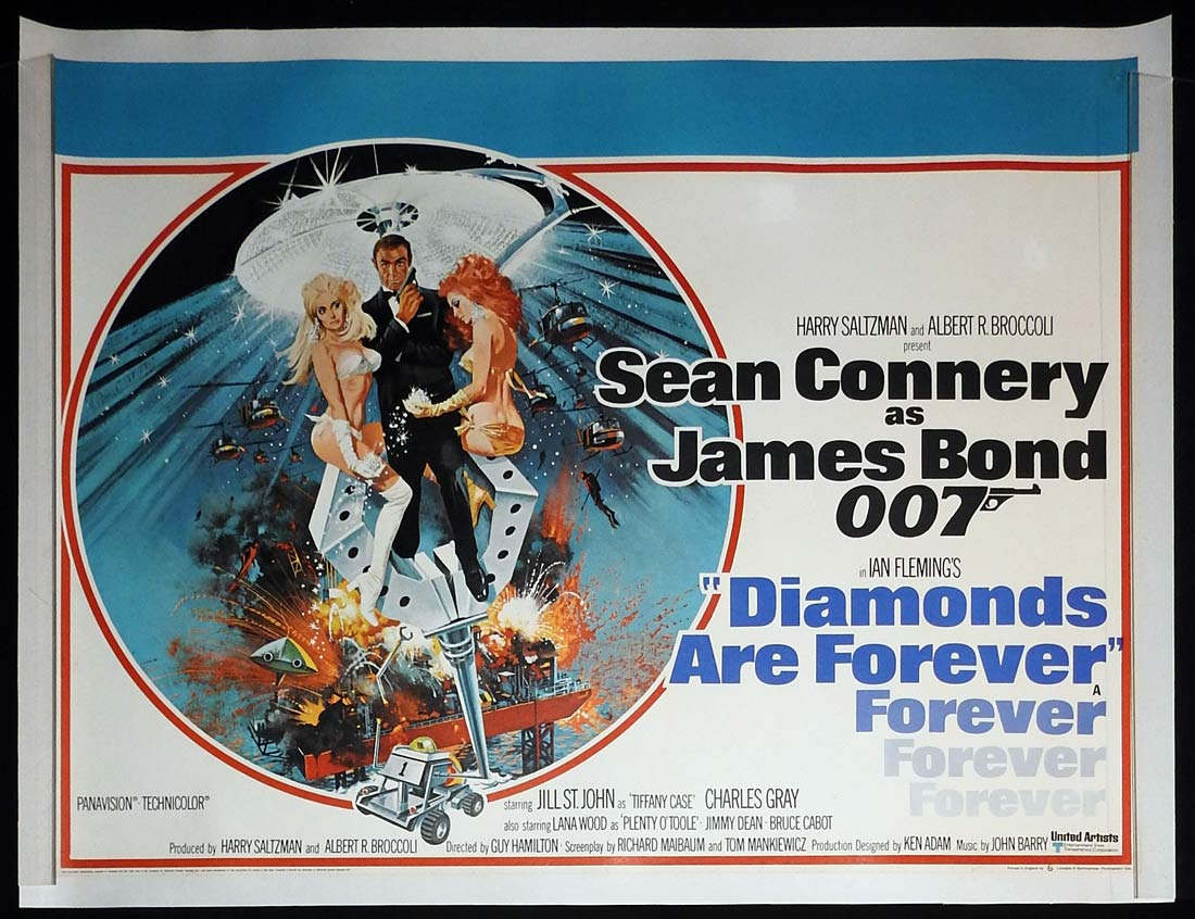 DIAMONDS ARE FOREVER Original British Quad Linen Backed Movie poster James Bond