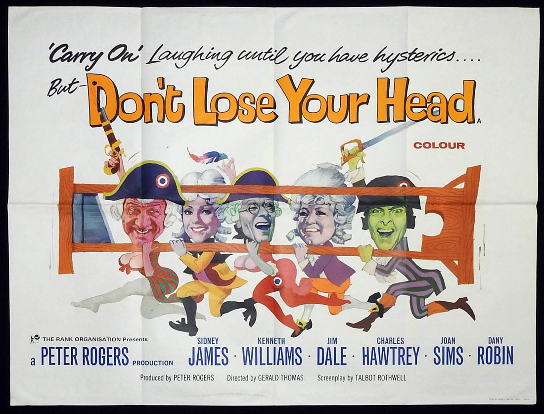 CARRY ON DON'T LOSE YOUR HEAD British Quad Movie poster Sidney James Kenneth Williams