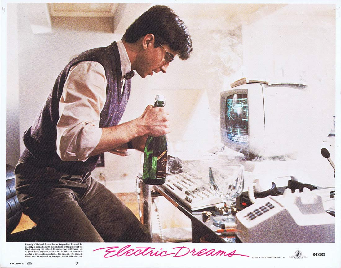 ELECTRIC DREAMS Original Lobby Card 7 Lenny von Dohlen Virginia Madsen Maxwell Caulfield