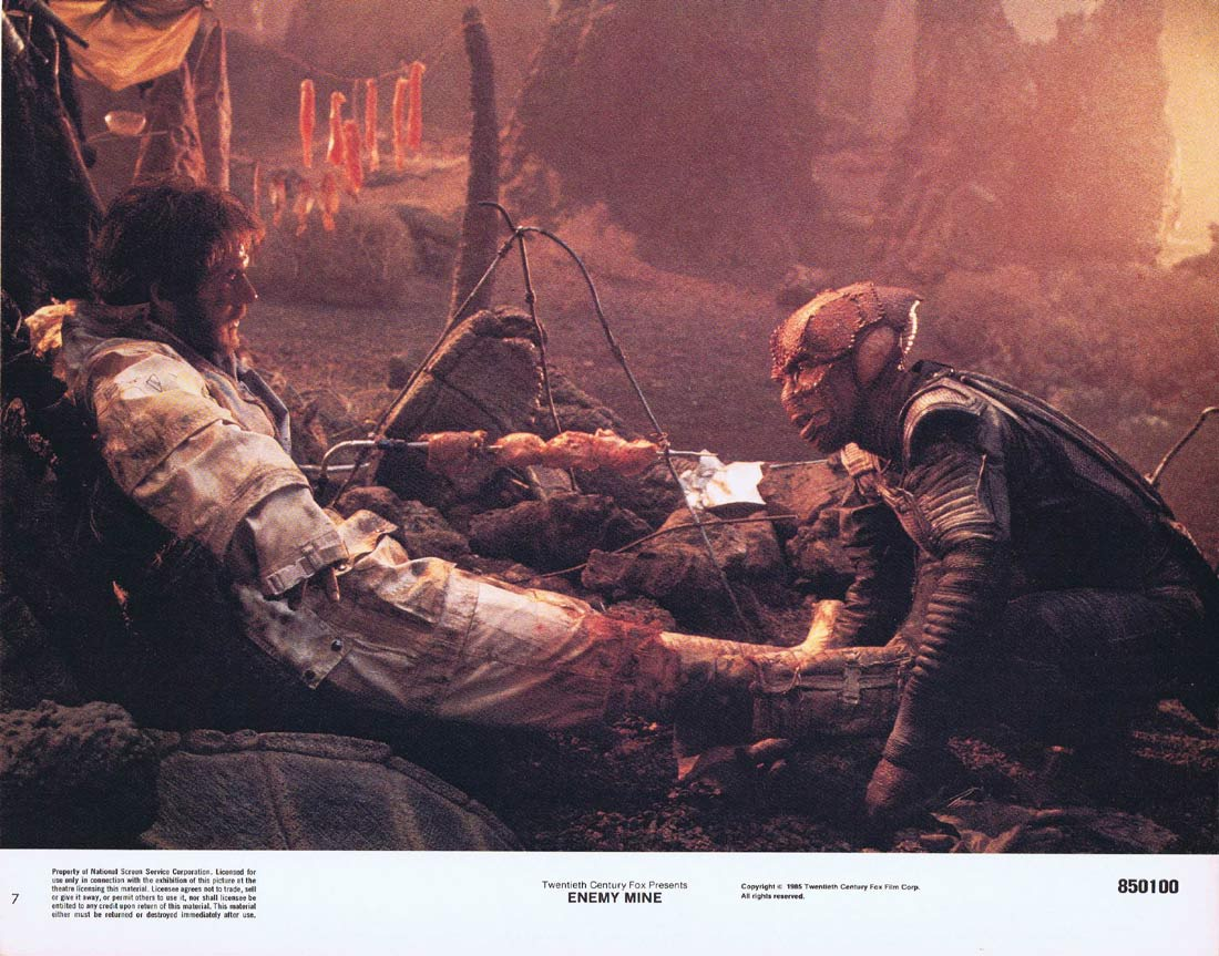 ENEMY MINE Original Lobby Card 7 Dennis Quaid Louis Gossett Jr.