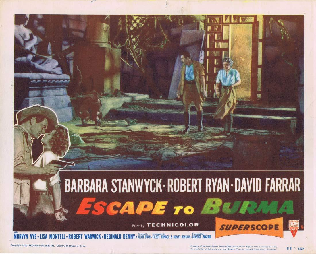 ESCAPE TO BURMA Original Lobby Card 5 Barbara Stanwyck Robert Ryan