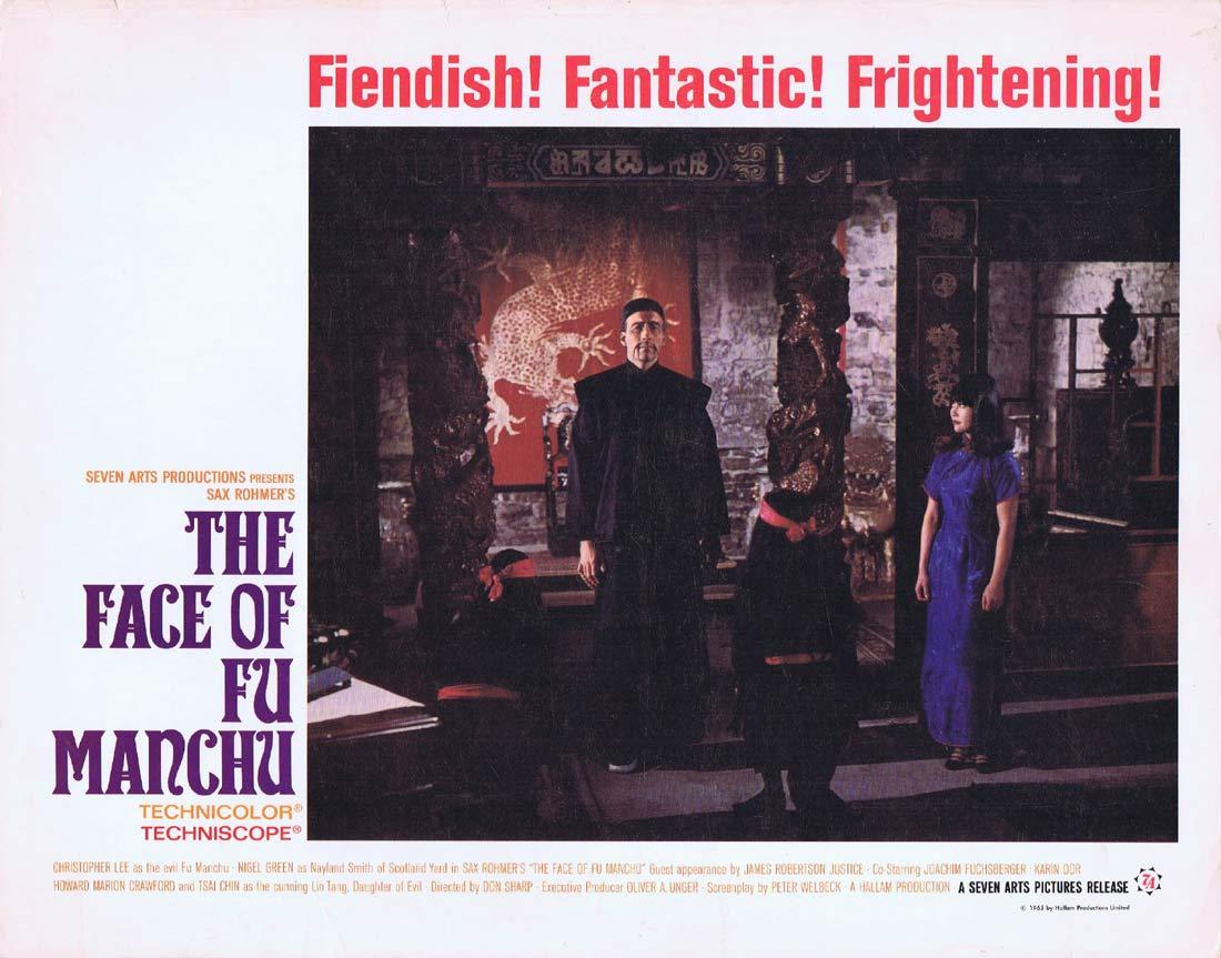 THE FACE OF FU MANCHU Original Lobby Card 3 Christopher Lee Nigel Green