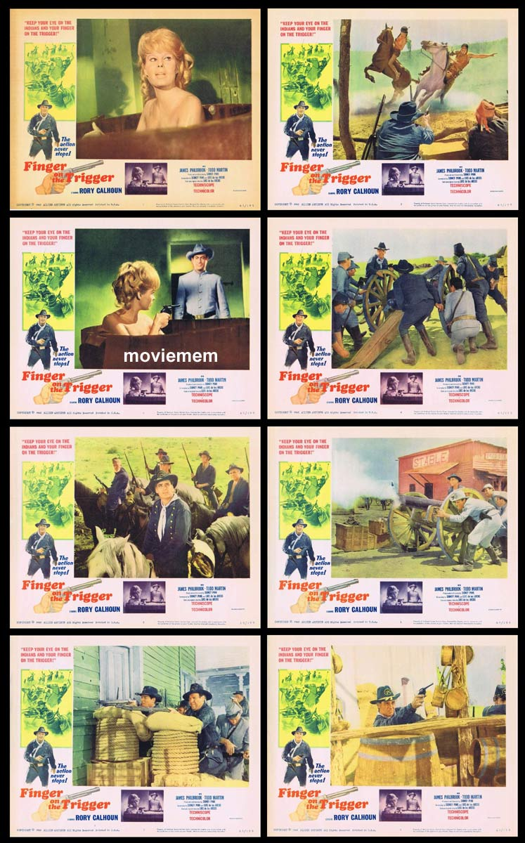 FINGER ON THE TRIGGER Original Lobby Card set Rory Calhoun Aldo Sambrell