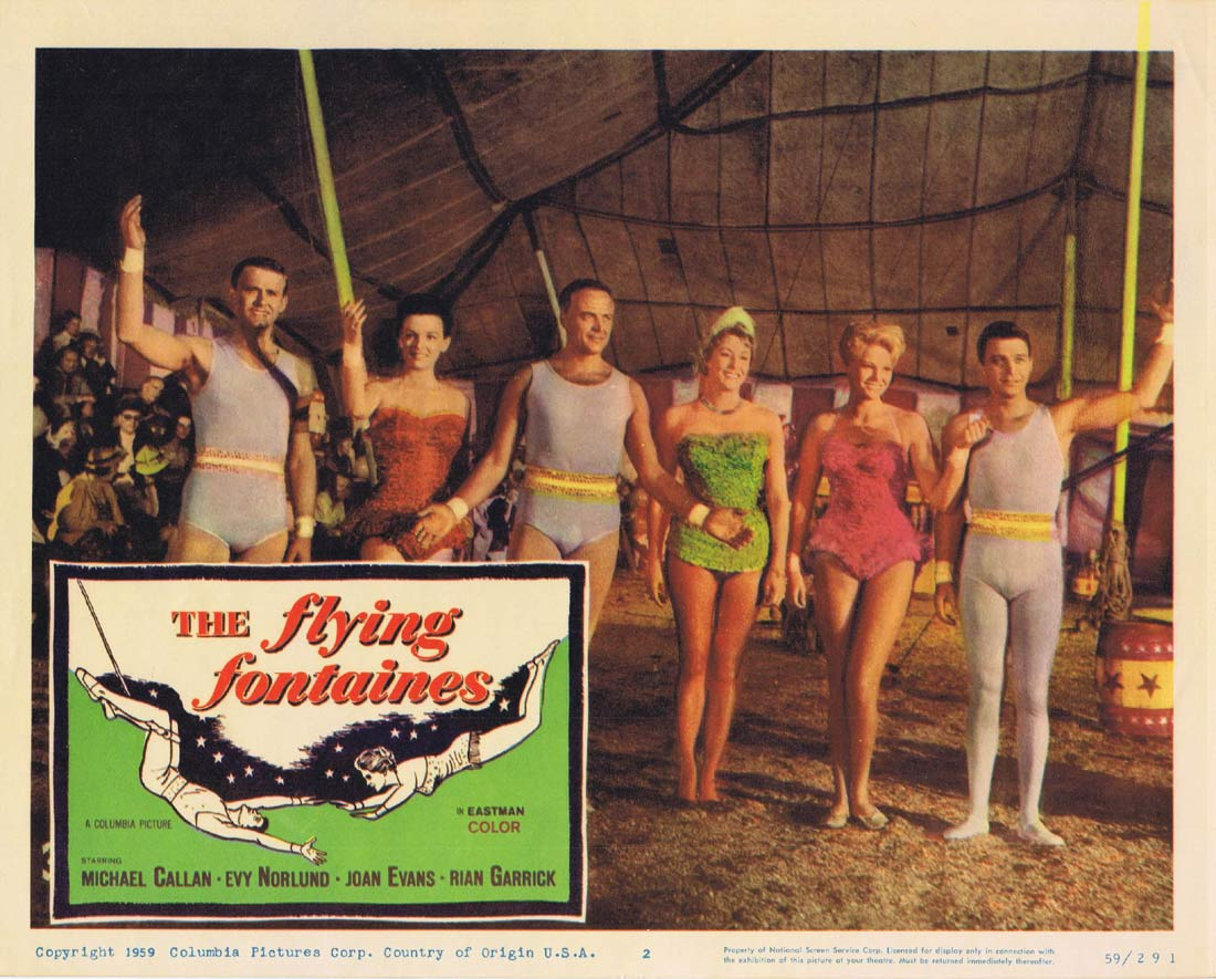 THE FLYING FONTAINES Original Lobby Card 2 Michael Callan Circus Evy Norlund Joan Evans