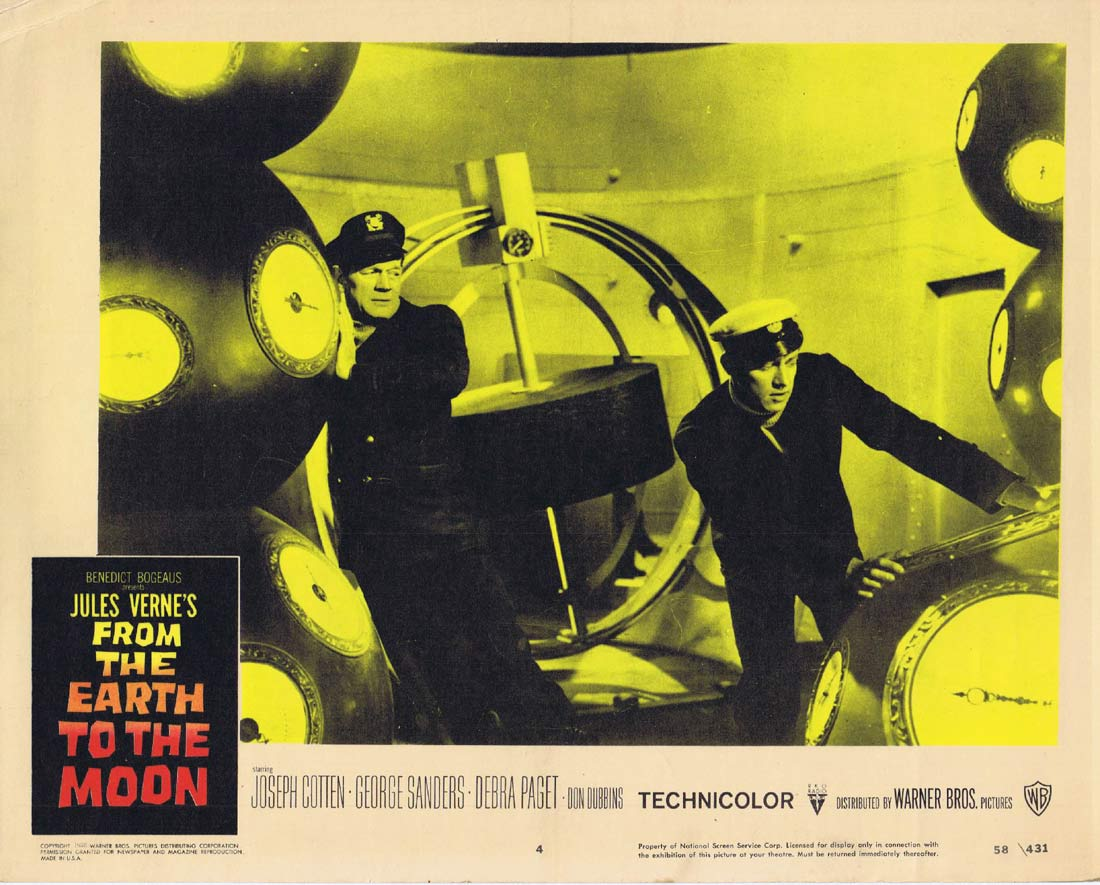 FROM THE EARTH TO THE MOON Original Lobby Card 4 Joseph Cotten George Sanders Sci Fi