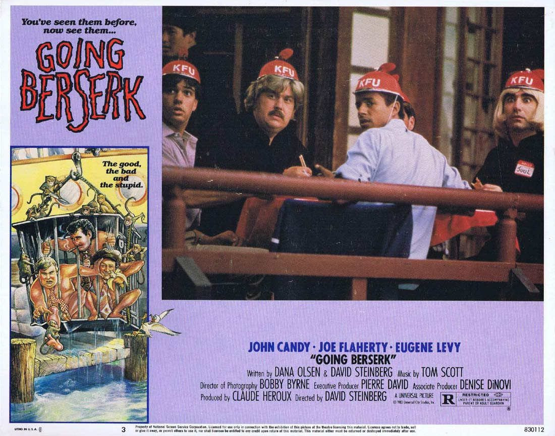GOING BERSERK Original Lobby Card 3 John Candy Joe Flaherty Eugene Levy