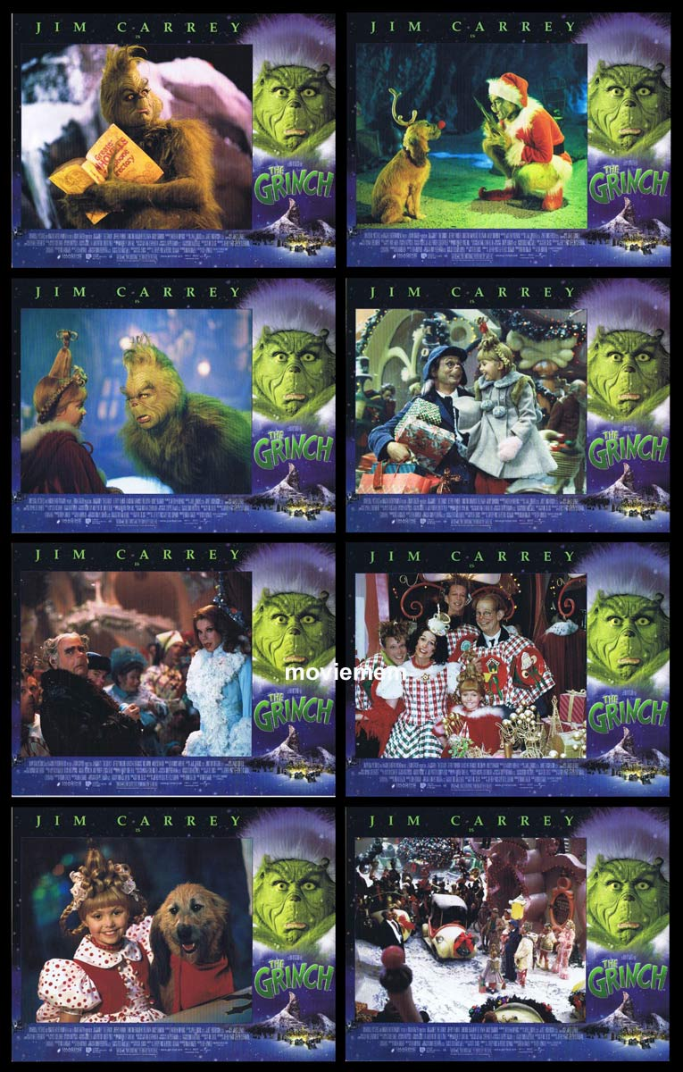 THE GRINCH Original Lobby Card Set Jim Carrey Taylor Momsen Christmas