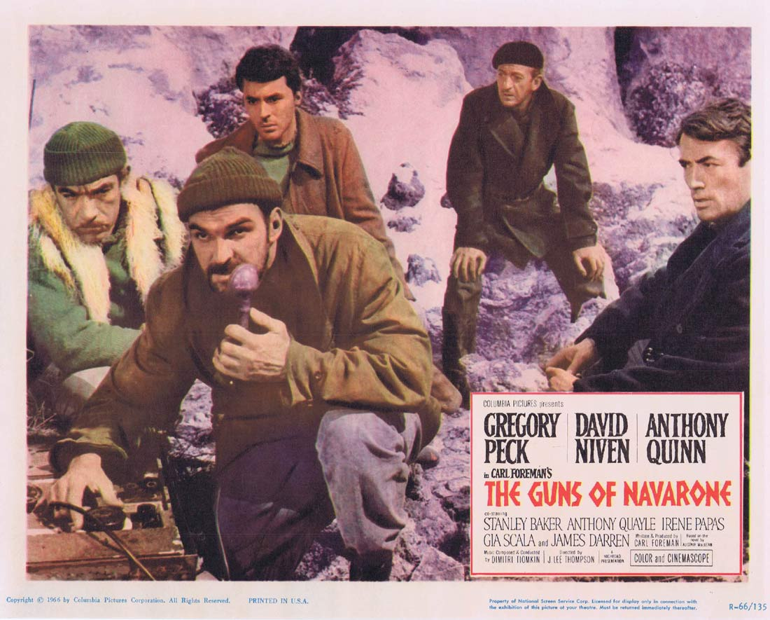 GUNS OF NAVARONE 1966r Original Lobby Card 7 Gregory Peck
