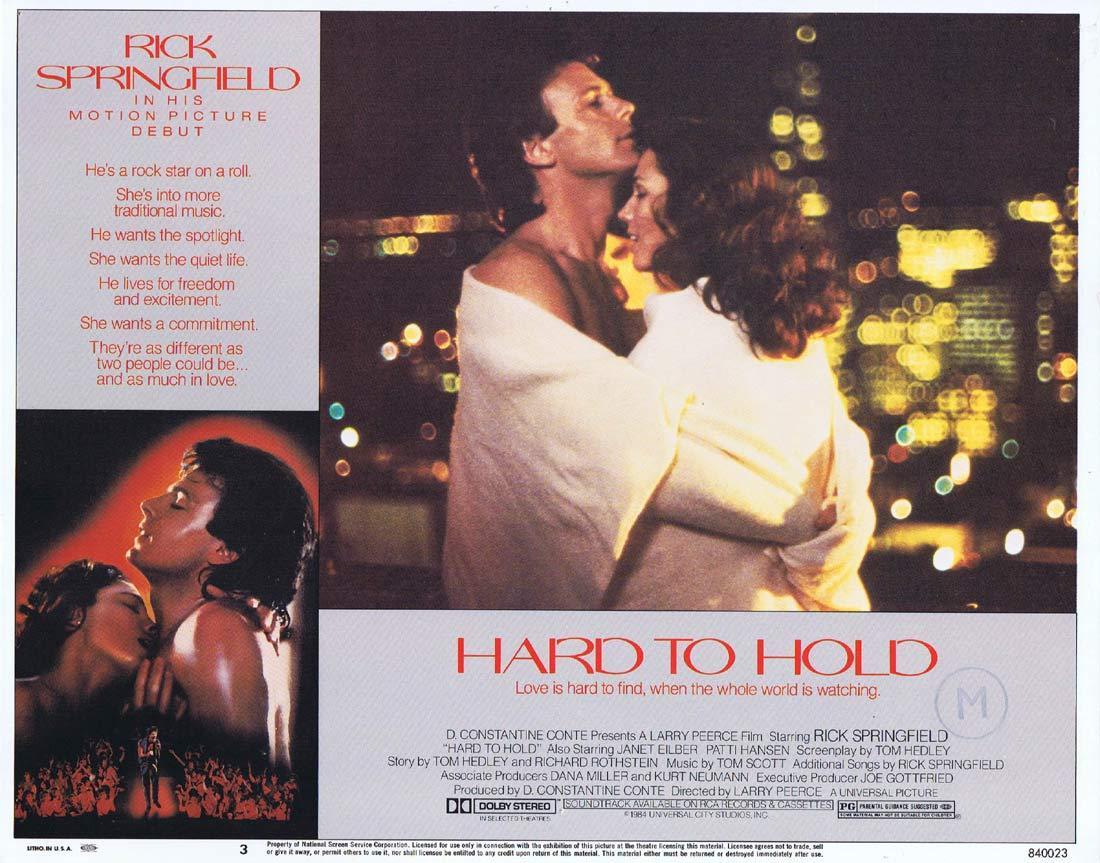 HARD TO HOLD Original Lobby Card 3 Rick Springfield Janet Eilber