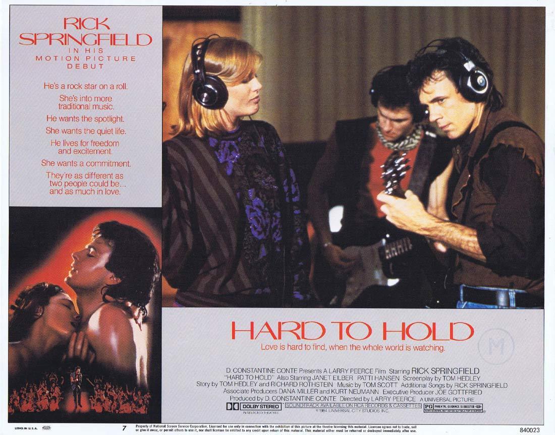HARD TO HOLD Original Lobby Card 7 Rick Springfield Janet Eilber