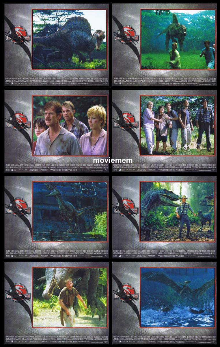 JURASSIC PARK 3 Original Lobby Card Set Sam Neill William H. Macy Dinosaurs