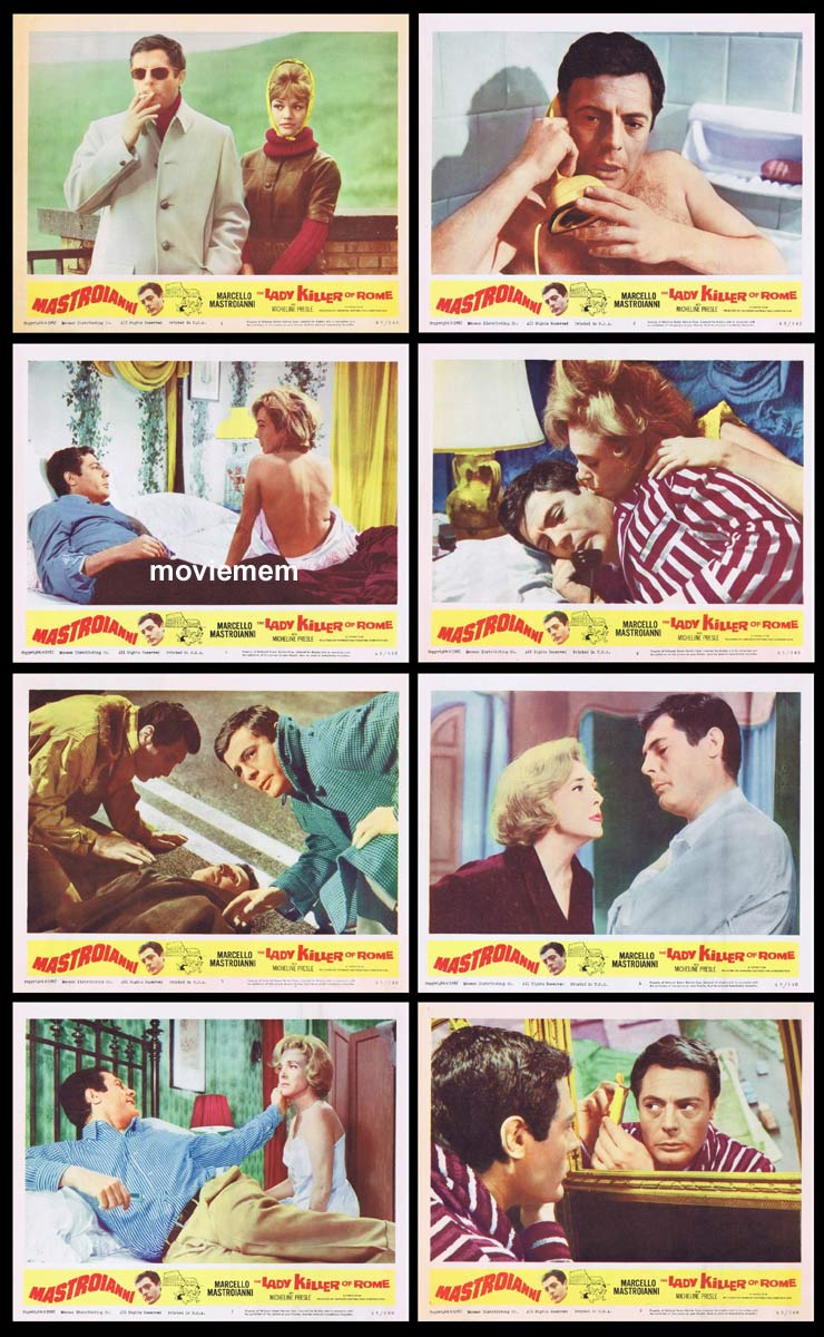 LADY KILLER OF ROME Original Lobby Card set Marcello Mastroianni Micheline Presle