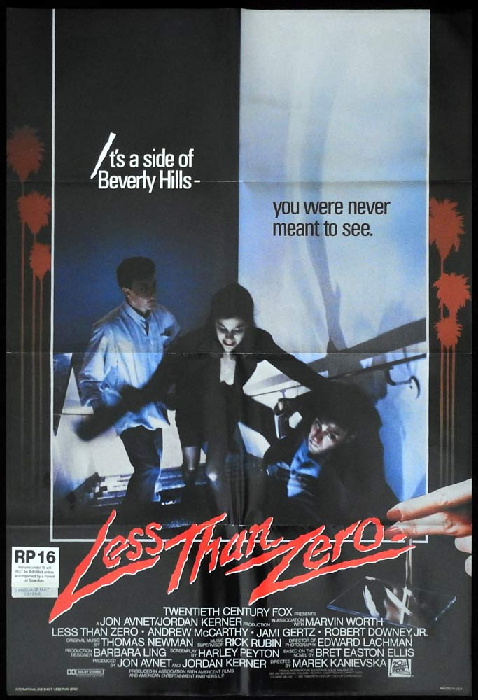 LESS THAN ZERO US One Sheet Movie Poster Andrew McCarthy Robert Downey