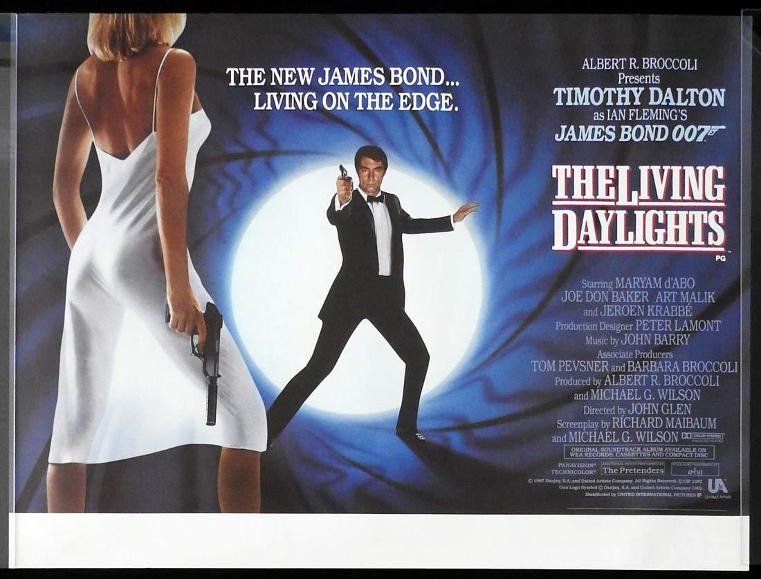 THE LIVING DAYLIGHTS Original British Quad Movie poster James Bond