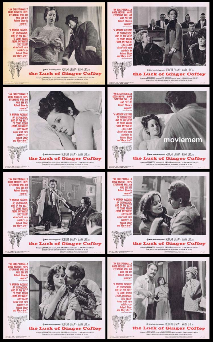 THE LUCK OF GINGER COFFEY Original Lobby Card set Robert Shaw Mary Ure Liam Redmond