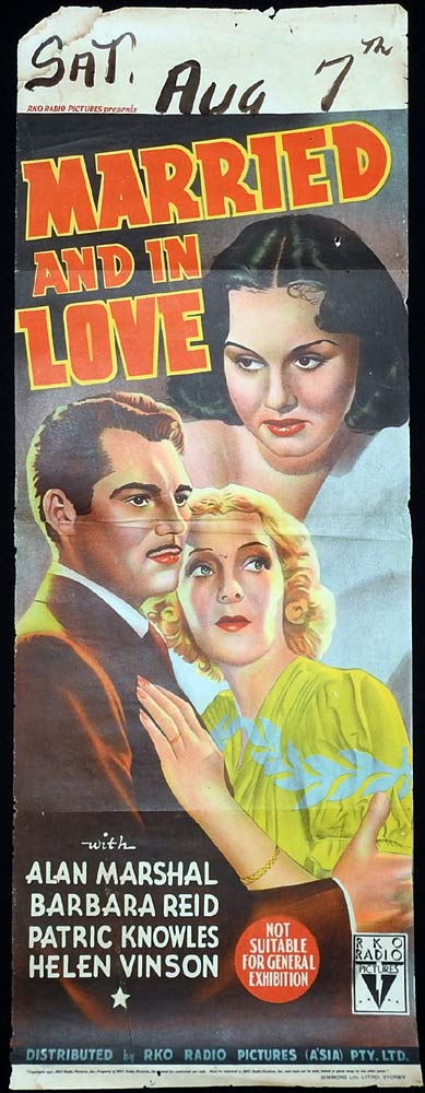 MARRIED AND IN LOVE Long Daybill Movie poster  Alan Marshal RKO Barbara Read